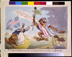 The Great Monster, Republican, Having Traversed Great Part Of Europe--but See Britania [sic] And Roused Her Lion To Give This Monster, A Proper Reception Image