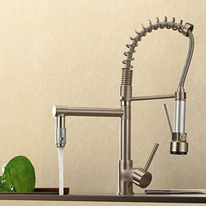 Contemporary High Pressure Nickle Brushed Kitchen Faucet-- Faucetsuperdeal.com Image