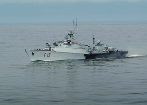 The Lithuanian Frigate Lns Aukstaitis (f 12) Steams Through The Baltic Sea During The Annual Maritime Exercise Baltic Operations 2003 (baltops) Image