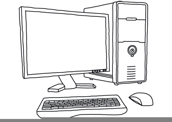 black and white clipart of computer parts