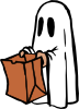 Ghost With Bag Colour Clip Art