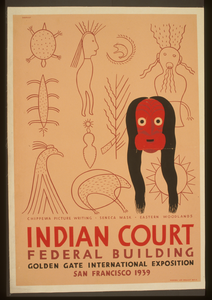 Indian Court, Federal Building, Golden Gate International Exposition, San Francisco, 1939 Chippewa Picture Writing, Seneca Mask, Eastern Woodlands / Siegriest. Image