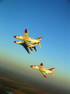 A Formation Of T-45a Goshawks Assigned To The Golden Eagles Of Training Squadron Twenty Two (vs-22) From Naval Air Station (nas) Kingsville Fly En Route To A Flyover During A Texas A&m Kingsville Football Game Image
