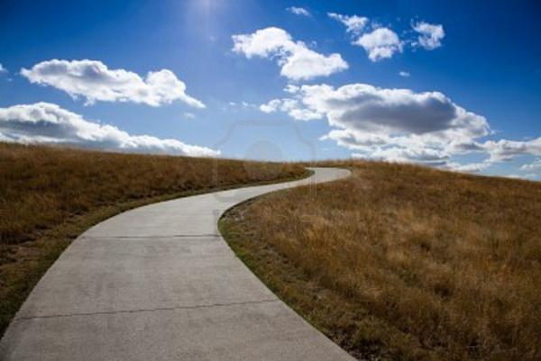 an empty golf cart path winds its way up a grassy hill