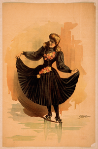 Blond Woman In Black Dress With Roses Holding Skirt Image