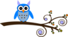 Turquoise Owl On Branch Clip Art