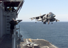 He Air Boss Watches As The Last Av-8b  Harrier  From Helicopter Medium Squadron Two Six Six  (hmm-266) Lands On Boarduss Nassau Following A Strike Mission Into Kosovo. Image