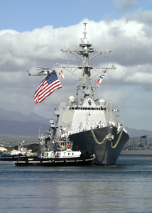 Sailors Aboard Uss Chafee (ddg 90)  Man The Rails  As They Pull Into Their New Homeport, Pearl Harbor, Hawaii. Image