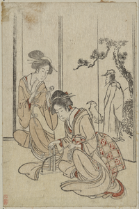 Young Woman Braiding A Cord Before A Screen Depicting The Chinese Sage Huang Shangping. Image