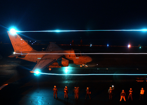 An S-3 Viking Is Launched From The Flight Deck Aboard The Aircraft Carrier Uss Constellation (cv 64) During Night Flight Operations Image