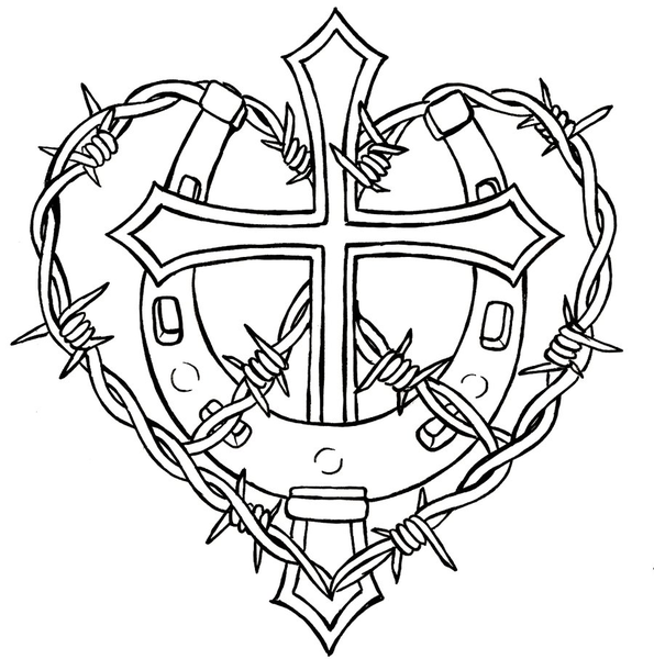 cross and horseshoe with barbed wire tattoo design
