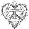 Cross And Horseshoe With Barbed Wire Tattoo Design Image
