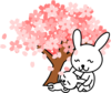 Pink Sakura Tree Mother And Baby Image