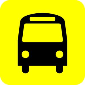Bus Station Icon Black Yellow Clip Art