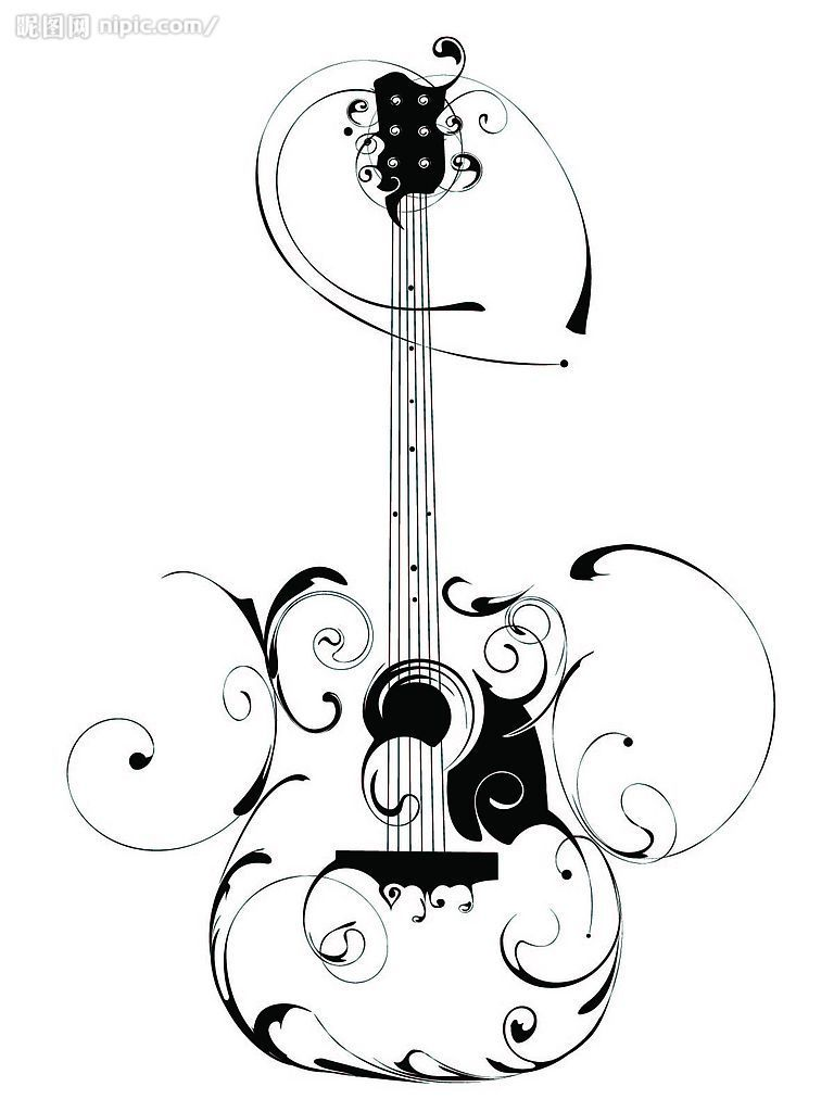 guitar tattoos tribal Swirl clip Clker.com  art at Images Free vector   online  Guitar