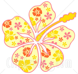 Clipart Illustration Of A Yellow Hawaiian Hibiscus Flower With A Pink Yellow And Orange Floral Pattern On The Petals Image