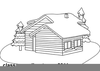 Black And White Cabin Clipart Image