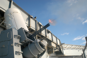 A Pre-aimed Calibration (pac) Test-fire Is Conducted On A Close In Weapons System (ciws) To Check The Gun S Bore Alignment Image