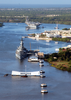 Uss Carl Vinson (cvn 70) Pulls Past The Arizona Memorial And The Battleship Uss Missouri (bb 63) As She Enters Pearl Harbor Image