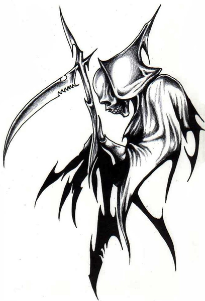 Grim Reaper Tattoo Drawings Designs