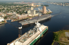 Tug Boats Guide Uss Harry S. Truman (cvn 75) Up The Elizabeth River, Past Portsmouth Landmarks Image