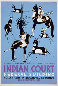 Indian Court, Federal Building, Golden Gate International Exposition, San Francisco, 1939 Antelope Hunt From A Navaho Drawing, New Mexico / Siegriest. Image
