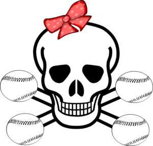 Girl Softball Skull Clip Art