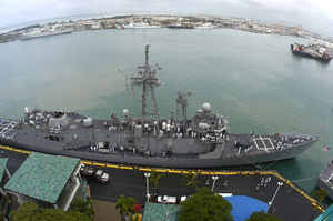 The Guided Missile Frigate Uss Reuben James (ffg 57) And The Guided Missile Destroyer Uss Hopper (ddg 70) Pull Into Honolulu Image