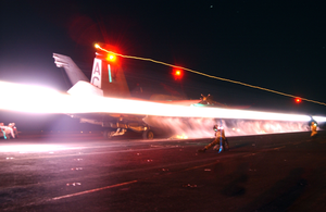 An F/a-18 Hornet Launches From One Of Four Steam Driven Catapults On The Flight Deck Of Uss Harry S. Truman (cvn 75). Image
