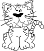Cartoon Cat Sitting Outline Clip Art