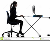 Woman Typing Clipart Image