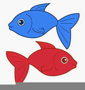 Fish red. One two blue clipart