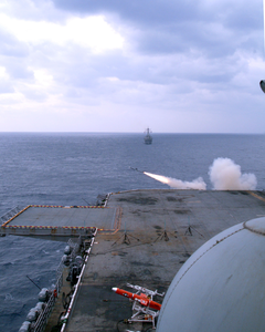 Uss Essex (lhd 2) Launches One Of The Ship S Sea Sparrow Rim-7 Surface-to-air Missiles During A Training Exercise. Image