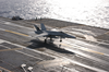 An F/a-18 Hornet Assigned To The Salty Dogs Of Air Test And Evaluation Squadron Two Three (vx-23), Piloted By Lt. Cmdr. Gerald Hanson, Makes The First Trap. Image