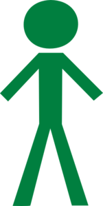 Stick Figure - Forest Green Clip Art