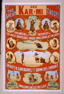 The Great Victorina Troupe Originators And Presenters Of The Most Marvelous Sword Swallowing Act On Earth.  Image