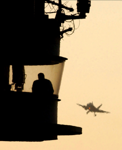F/a-18 Hornet Approached Aircraft Carrier For Landing. Image