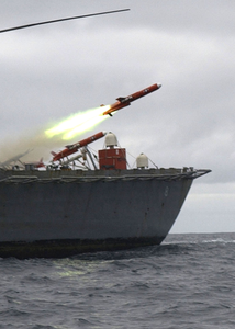 A Bqm-74 Drone Is Fired From The Fantail Of The Guided Missile Frigate Uss Mcinerney (ffg 8) Image