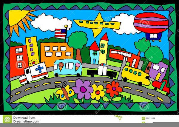 town clipart drawing busy child places clip street cliparts vector royalty illustration domain