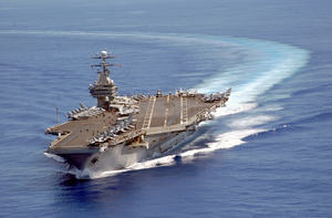Uss Carl Vinson (cvn 70) Turns Into The Wind At The Beginning Of Flight Operations Image