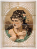 [bust View Of Woman, Wearing Rose In Hair And Green Dress] Image