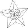 Smiling Star Outline Clip Art