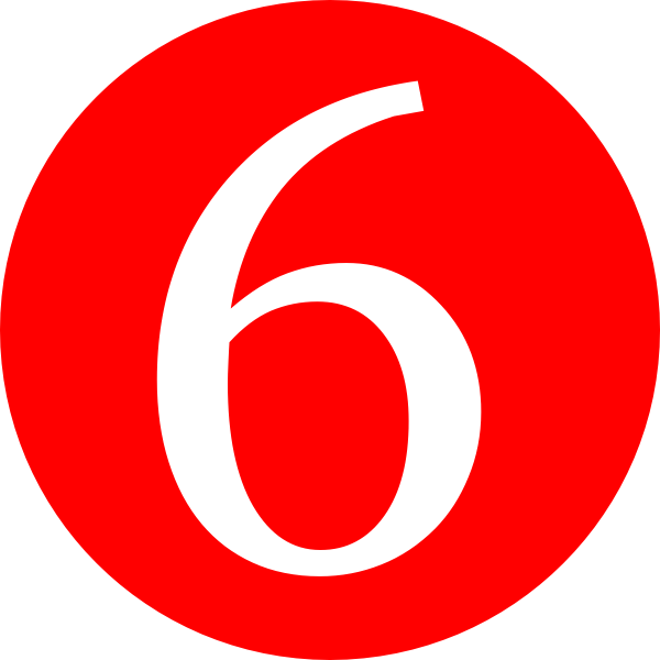 Red, Rounded,with Number 6 Clip Art at Clker.com - vector clip art ...