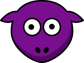 Sheep Purple Looking Straight Clip Art