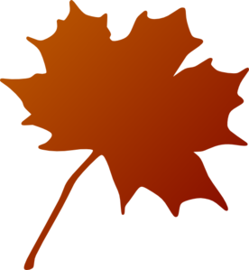 Orangish Red Gradient Maple Leaf Clip Art