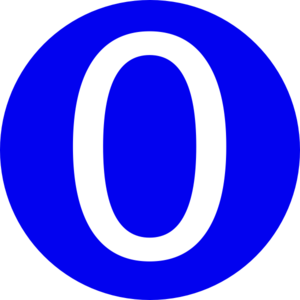 Blue, Rounded,with Number 0 Clip Art