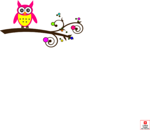 Pink Owl Colorful Branch2 Clip Art