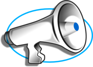 Megaphone With Blue Oval Clip Art