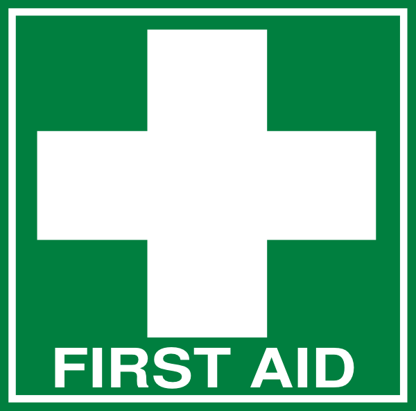 White First Aid Cross With Text (dark Green) Clip Art at