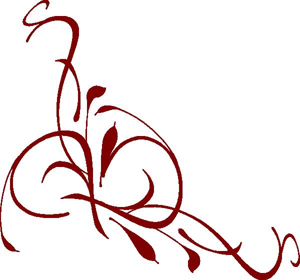 Burgundy Floral Swirl Clip Art At Clker Com Vector Clip